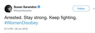 Susan-Sarandon-tweeted-about-her-arrest-urging-women-to-stay-strong-1400830-320x111 Susan Sarandon: Perché il suo arresto non spaventa Trump